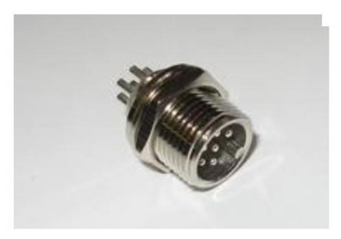 Вилка на кабель 12M-6F (6 pin) (вилка с гайкой в корпус инд.)