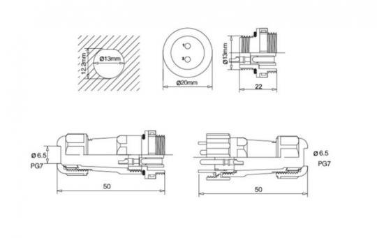 SP-16 5 pin (кабель-кабель)